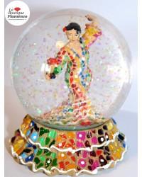 Boule à neige flamenca multicolore en mosaïque Barcino