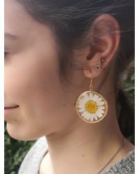 Boucles d'oreilles Marguerite blanche