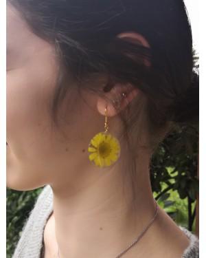 Boucles d'oreilles Marguerite soleil jaune