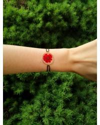 Bracelet chrysanthème rubis