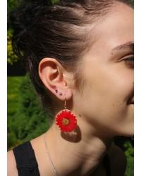 Boucles d'oreilles Marguerite soleil rouge rubis