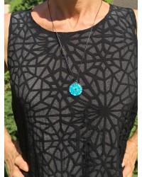 Pendentif fleur de Nigelle Turquoise
