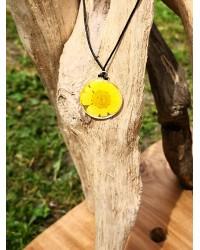 Pendentif Marguerite jaune mimosa