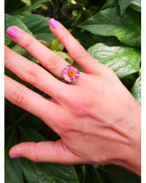Bague petite fleur Erigeron rouge/argent