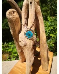 Pendentif médaillon Nigelle turquoise