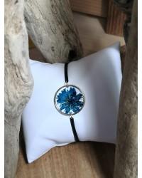 Bracelet Fleur de Nigelle bleue /or