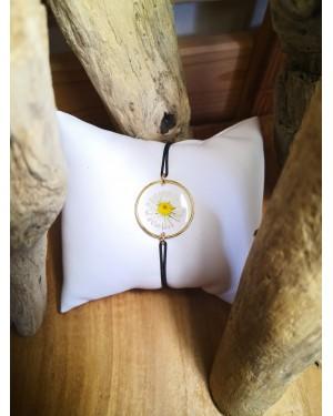 Bracelet Erigeron/Pâquerette blanc/doré
