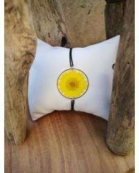 Bracelet grande Marguerite jaune argt noir