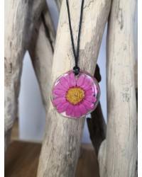 Pendentif Marguerite soleil rose bohème