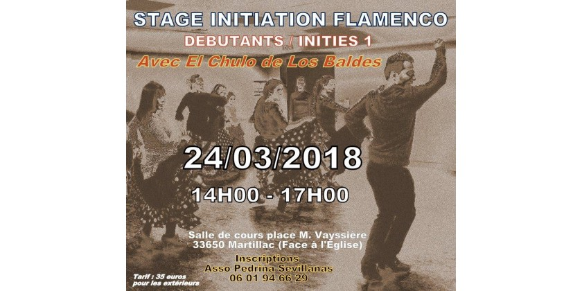 STAGE INITIATION FLAMENCO LE 24/03/2018 DE 14H A 17H A MARTILLAC 33